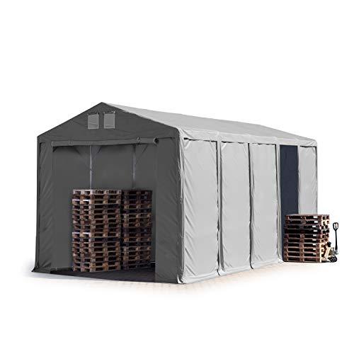 TOOLPORT Lagerzelt Industriezelt 5x10 m Zelthalle mit 4m Seitenhöhe in grau ca. 550g/m² PVC Plane 100% Wasserdicht Ganzjahreszelt mit Reißverschlusstor