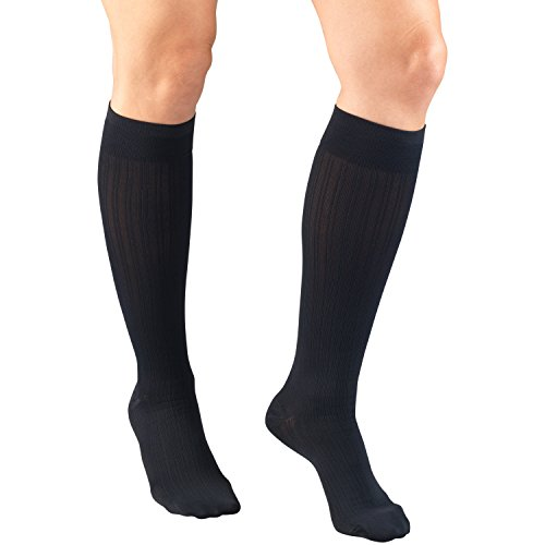 Truform Compression Socks, 15-20 mmHg, Womens Dress Socks, Knee High Over Calf Length, Navy Rib Knit, Medium
