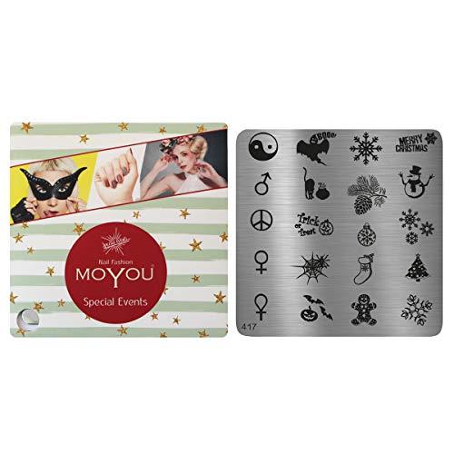 MoYou Nagels Kerstmis & Halloween Stijl Stempelen Nagel Art Afbeelding Plaat 417, Gemakkelijk te gebruiken