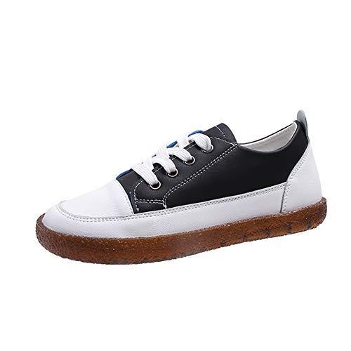 Athemeet Frauen-beiläufige Schuh-einfache Art schnüren Sich Oben PU-Leder Weibliche Wohnungen für Mädchen Studenten Wandern Supplies 38 EU Schwarz