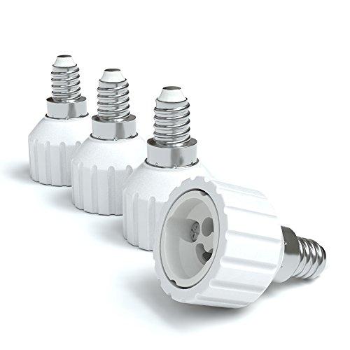 4x Lampensockel Adapter – Konverter für E14 Fassung auf GU10 | Lampenadapter für LED-/Halogen- und Energiesparlampen | Sockeladapter von EAZY CASE, weiß