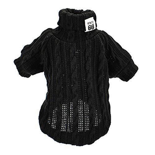 GOUSHENG-Kostuums Huisdieren Kleding Jurken Coltrui Hond Kleding Voor Kleine Honden Sweater Unisex Lente Huisdier Puppy Pyjama Zachte Huisdier Kitten Kat Knitwear 1B17, XS, Zwart