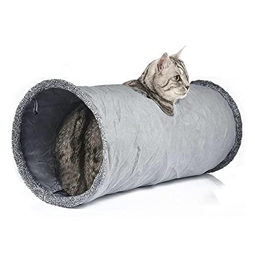 LeerKing Katzentunnel Katzenspielzeug Faltbar Spieltunnel Knisternder Rascheltunnel für alle Katzen und kleine Tiere 1 Höhlen 67 * 30cm