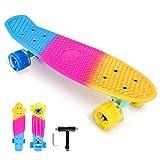 Bellanny Skateboard 56.5x16cm, Completo Skateboard per Bambini, 4 Ruote Flash in PU, Tavolo in Plastica Rinforzata, Cuscinetto ABEC-7, Adatto per Adolescenti,Ragazze, Ragazzi e Adulti