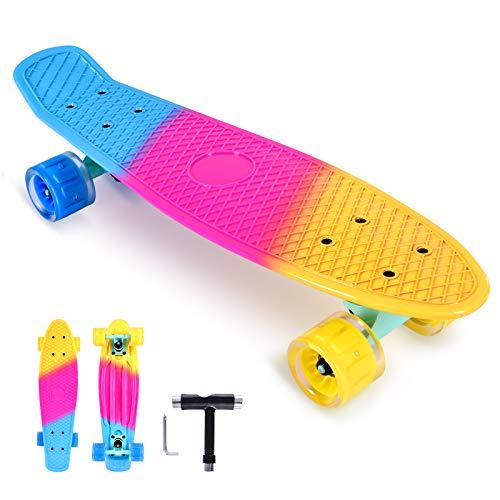 Bellanny Skateboard, 22 x 6 Zoll Komplette Mini Cruiser Skateboard, Buntem Skateboard, Mit ABEC-7 Kugellager Und 6045 Leuchtrad, mit T-Tool, für Kinder, Jugendliche