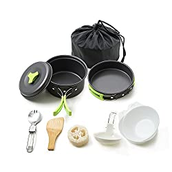 Image of Honest Portable Camping cookware Mess kit Folding Cookset for Hiking Backpacking 10 Piece Lightweight Durable Pot Pan Bowls Spork with Nylon Bag Outdoor Cook Equipment: Bestviewsreviews