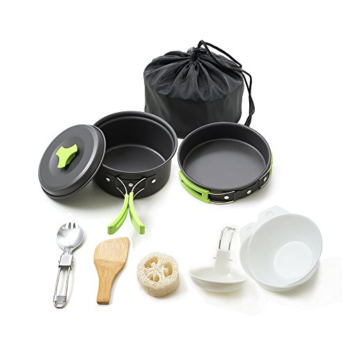 Honest Portable Camping cookware Mess kit Folding Cookset for Hiking Backpacking 10 Piece Lightweight Durable Pot Pan Bowls Spork with Nylon Bag Outdoor Cook Equipment.