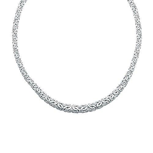 Königskette, 925er Sterlingsilber, rhodiniert, flach, abgestuft, 6 mm, 9 mm, Schmuck, Geschenke für Frauen – 46 cm