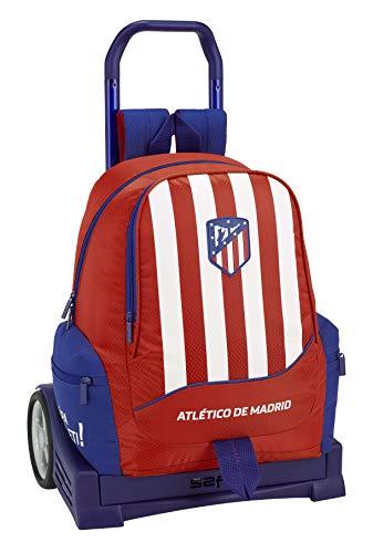 Club Atlético de Madrid Atlético de Madrid Mochila con Carro Ruedas Evolution, Trolley Equipaje para niños, Rojo, 44 cm