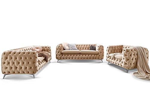 Moebella Chesterfield Sofagarnitur 3-2-1 Emma Samtstoff Knöpfung Modern Designer Couch (Creme-Beige)