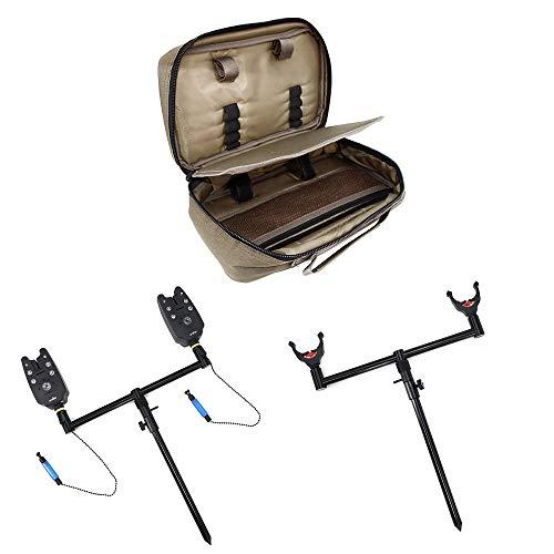 Hirisi Tackle Karpfen-Angelruten-Set mit Rutenhalter, Rutenauflage, Erdspeer, Bissanzeigern,