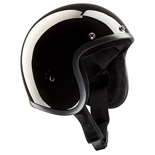 Bandit Helmets Jethelm Glanz schwarz, Motorradhelm ohne ECE mit Sonnenschild, Sports-Farbe:glossy black;Größe:M(57-58cm)