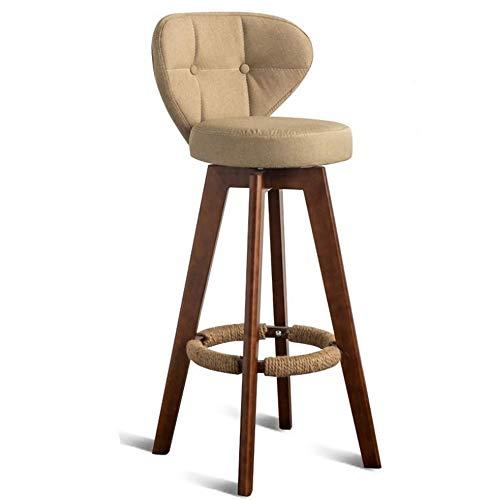 Luorizb Nordic Bar Chair Modern Simple Household Bar Stool Backrest High Legged Chair Solid Wood Rotary High Legged Stool Bar (Color : C)