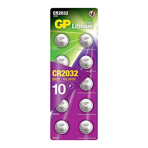 GP Batteries Extra Lithium Knopfzellen CR2032 3V, 10 Stück Knopfbatterien CR 2032 3 Volt Original Blisterverpackung, 10x CR2032 Batterien einzeln entnehmbar