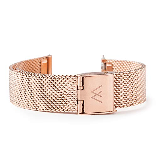 Wristology Quick Release Rose Gold Metal Mesh Easy Change Band Strap 20mm