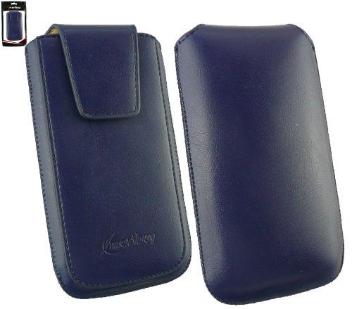 Emartbuy® Sleek Bereich Blau Luxury PU Leder Slide in Hülle Tasche sleeve Halter Sleeve Holder ( Größe 3XL ) Mit magnetischer Klappen und Zuglasche Mechanismus Geeignet Für Allview P5 Lite