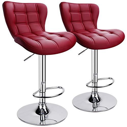 Leader AccessoriesBarhocker (2er-Set) Schalensitz Barstuhl mit Lehne stylischer Tresenhocker höhenverstellbar 62-82cm Drehstuhl 360 Grad Bezug aus Kunstleder Weinrot