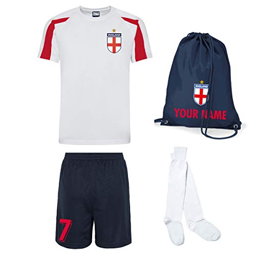 Print Me A Shirt Kit del Equipo de Inglaterra Personalizable para Ninos con Camiseta de Futbol, Pantalones Corto, Calcetines e Bolsa.