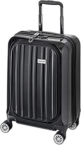 Handgepäck Hartschalen-Koffer Trolley Rollkoffer Reisekoffer Vorfach, 4 Rollen, 55 cm, 42 Liter, Schwarz