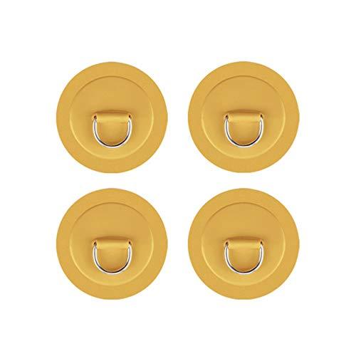 hengguang 4 Piezas De Parche De Anillo En D para Kayak, Almohadilla De Anillo En D para Tabla De Remo, Parches De Reparación De PVC para Kayak, para Bote Inflable, Bote De Goma Amarillo