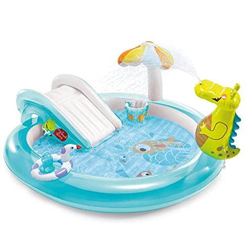 DLIBIG Niños toboganes piscinas castillo hinchable pequeña piscina inflable tobogán acuático jardines al aire libre hinchable cocodrilo parque acuático actividad piscina rebote juego suave juguetes