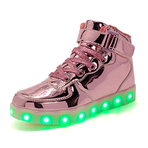 Coolloog Adult High Top LED Light Up 11 Colors USB Charging Flashing Sneakers for Christmas