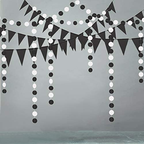 Black and White Triangle Circle Dot Paper Garland Party Decoration Banner Backdrop Party Supplies Bunting Kit for Hanging Banner Holiday Baby Shower Showcase Kid Room Halloween