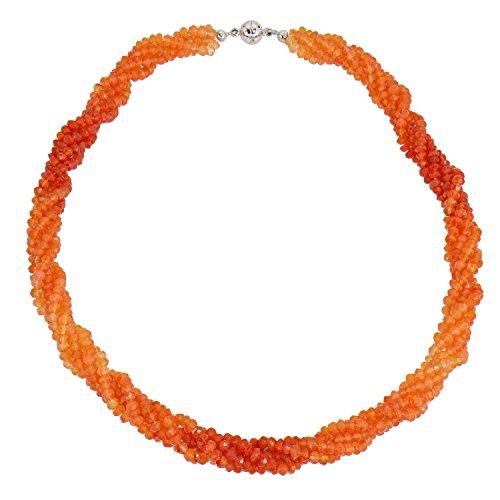 Harry Ivens - Collar de plata de ley 925 con cornalina naranja y cierre magnético