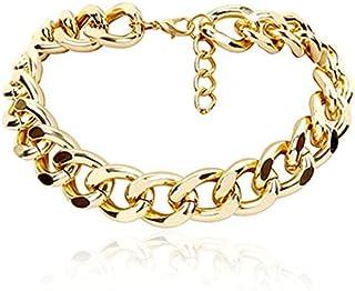 YOFEEL Titanium Steel Cuban Link Chain Gold Silver Bracelets/Necklace for Women's Girls 9mm Width Punk Hip Hop Cuban Chain...