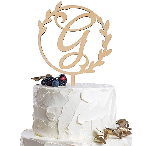 LINGTEER Personalized Inital Letter G Wooden Cake Topper Perfect for Birthday Rustic Wedding Anniversary Gift Keepsake Party Decoration