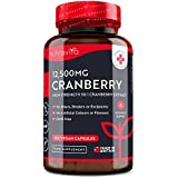Cranberry Extract 12,500mg – 180 Vegan Capsules - 6 Month Supply – High Strength 50:1 Cranberry Extract Per Serving – Made in The UK by Nutravita