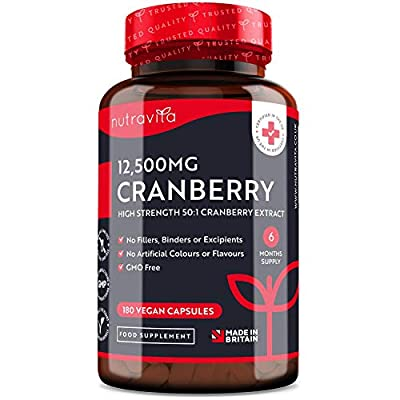 High Strength Cranberry Capsules 12500mg - 180 Vegan Capsules – 1 Capsule Per Day – 6 Month Supply – 50:1 Pure Cranberry Extract Supplement – Made in The UK by Nutravita