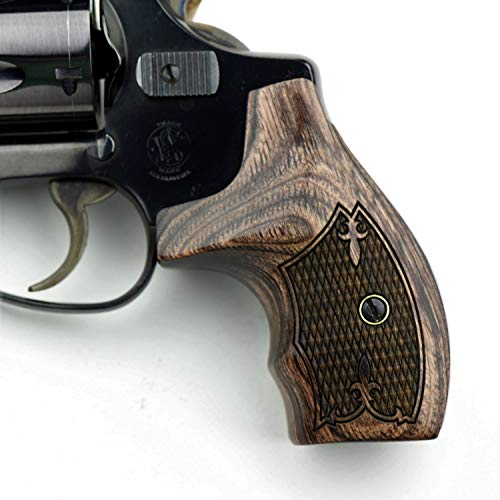 Altamont - S&W J Round Revolver Grips - Boot - Real Wood Gun Grips fit Smith & Wesson J Frame Round Butt .38 Special and 9mm Revolvers - Made in USA - Rosewood - Croc