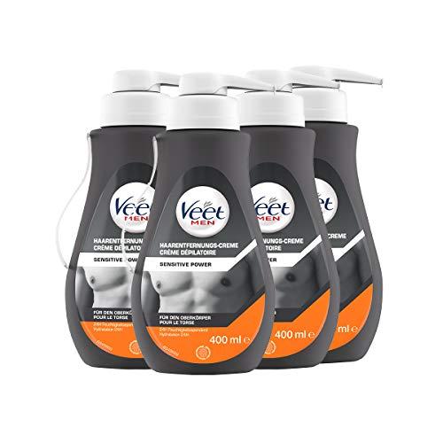 Veet for Men Haarentfernungs-Creme Sensitive Power im praktisachen Spender mit Spatel - Schnelle & effektive Haarentfernung für Männer in nur 5-10 Minuten - 4er Pack (4 x 400ml)