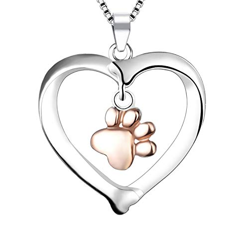 LYTOPTOP Necklace S925 Sterling Silver Heart Shape with A Rose Gold Paw Print Necklace Pendant