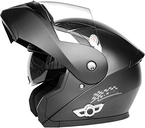Casco De Motocicleta Modular Bluetooth De Cobertura Total, Casco Retro De Cara Completa para Adultos con Certificación ECE, Diseño De Doble Visera Solar, Respuesta Automática,C,XL=60~61CM