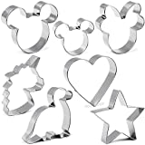 Cookie Cutter for Kids,Mickey & Minnie Mouse Unicorn Dinosaur Heart Star Shapes Stainless Steel Cookie Cutters Mold for Cakes,Biscuits and Sandwiches