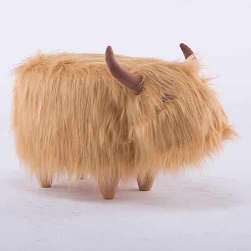 Möbel Akut Tierhocker Polsterhocker Kinder - Hocker Deko - Tiere - Animals (Haarige Kuh braun)
