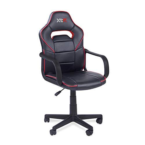 Adec - Silla Gaming, Sillon de Estudio o despacho, Modelo Gamer DRW, Medidas: 98-108 x 60 cm de Ancho (Rojo - Negro)