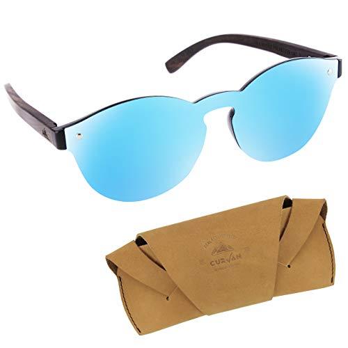 CURVAN - Gafas de Sol Polarizadas Mujer Hombre Unisex | Estilo Futurista Sin Marco Redondas | 100% Protección UV400 | Patillas Madera Natural Ecológica | Lente Espejo Antideslumbramiento (Blue)