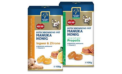 Manuka Health Honig Lutschbonbons, Ingwer-Zitrone und Propolis, je 100g, 2er Pack (2 x 100 g)