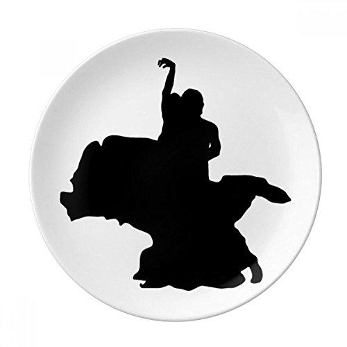 DIYthinker Danseur Duo Danse Performance Art décoratif en Porcelaine Assiette à Dessert 8 Pouces Dîner Accueil Cadeau 21cm diamètre Multicolor