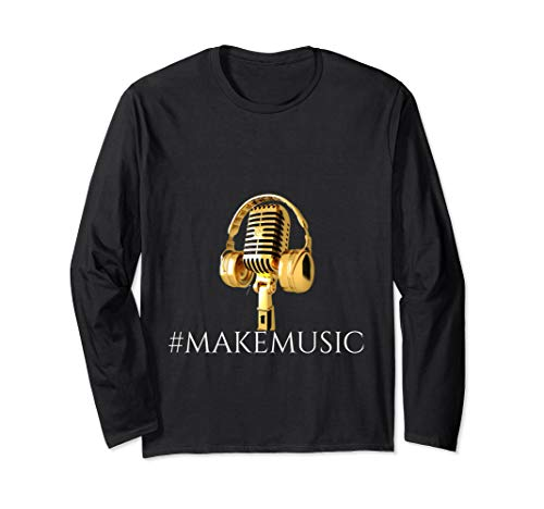 """""""Musician"""" """"Gold Microphone and Headphones"""" Long Sleeve T-Shirt"""