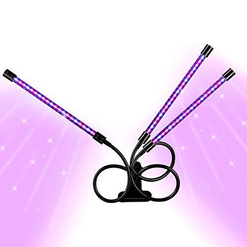 Lampada per Piante,Gifort 27W 54 LED Lampada di crescita,Tre teste a collo di cigno con temporizzazione per piante da interno, spettro rosso e blu, 5 livelli dimmerabili, 3/6/12 H Timer