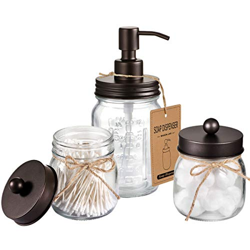 SheeChung Mason Jar Bathroom Accessories Set - Includes Liquid Hand Soap Dispenser and Qtip Holder Set - Rustic Farmhouse Decor Apothecary Jars Bathroom Countertop and Vanity Organizer (Bronze)