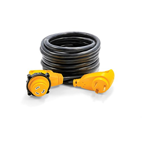 Camco 25' PowerGrip Heavy-Duty Extension Cord with 30M/30F- 90 Degree Locking Adapter | Allows for Easy RV Connection to Distant Power Outlets | Built to Last (55524)