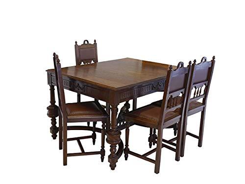 Essgruppe Tischgruppe Esstisch + 4 Stühle Antik um 1920 aus Eiche massiv (8890)