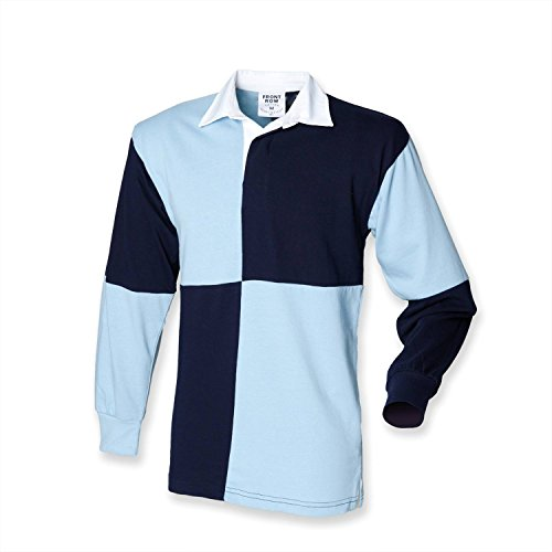 Front Row Quartered Rugby Shirt - Black/Red (White collar) - L