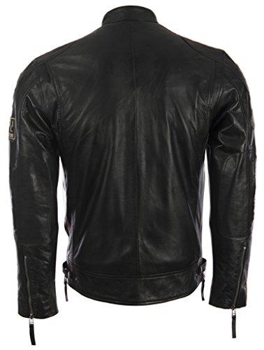 Herren echtes Leder Bikerjacke mit Bandkragen und Rennabzeichen von MDK - 4