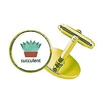 サボテンの鉢植えの緑の植物の多肉植物 スタッズビジネスシャツメタルカフリンクスゴールド